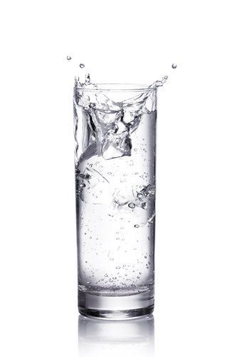 water splash in a glass.  isolated on white