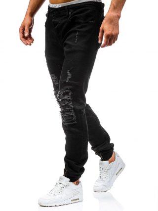 pol_pl_Czarne-spodnie-jeansowe-joggery-meskie-Denley-456-48680_3