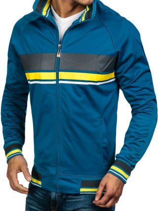 Herrensweatshirt mit Reißverschluss und Strickbündchen aus leicht glänzendem Stoff. Verschiedene Farbvariante_Bolf.de